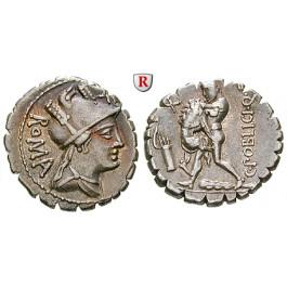 Römische Republik, C. Poblicius, Denar, serratus 80 v.Chr., vz