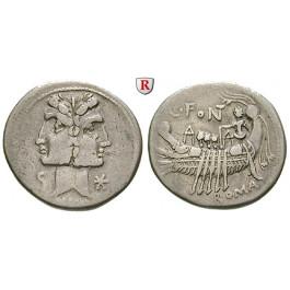 Römische Republik, C. Fonteius, Denar 114-113 v.Chr., ss+