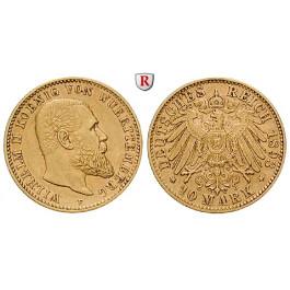 Deutsches Kaiserreich, Württemberg, Wilhelm II., 10 Mark 1893, F, ss-vz, J. 295