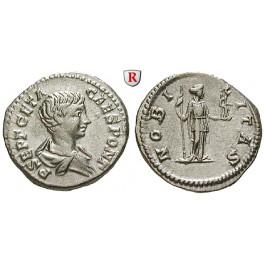 Römische Kaiserzeit, Geta, Caesar, Denar 199, f.vz