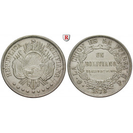 Bolivien, Republik, Boliviano 1872, ss-vz