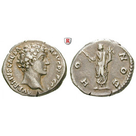 Römische Kaiserzeit, Marcus Aurelius, Caesar, Denar 140-144, ss+