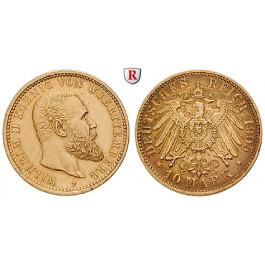 Deutsches Kaiserreich, Württemberg, Wilhelm II., 10 Mark 1905, F, ss-vz, J. 295