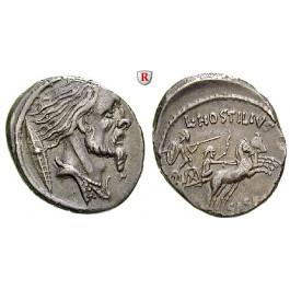 Römische Republik, L. Hostilius Saserna, Denar 48 v.Chr., ss-vz