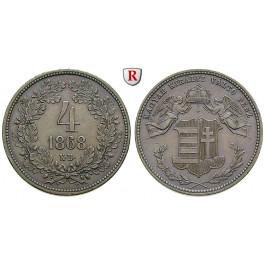 Österreich, Kaiserreich, Franz Joseph I., 4 Kreuzer 1868, vz