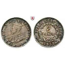 Britisch-Westafrika, George V., 3 Pence 1913, vz+