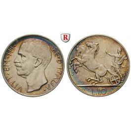Italien, Königreich, Vittorio Emanuele III., 10 Lire 1927, vz