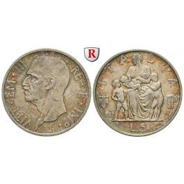 Italien, Königreich, Vittorio Emanuele III., 5 Lire 1936, ss-vz
