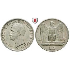 Italien, Königreich, Vittorio Emanuele III., 5 Lire 1930, vz-st