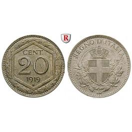 Italien, Königreich, Vittorio Emanuele III., 20 Centesimi 1919, vz-st