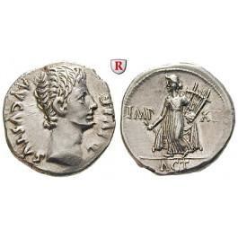 Römische Kaiserzeit, Augustus, Denar 15-13 v.Chr., vz+