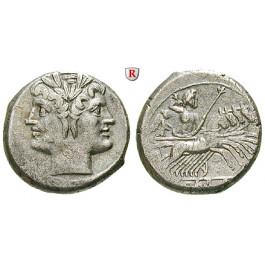 Römische Republik, Romano-kampanische Prägungen, Didrachme (Quadrigatus) 225-212 v.Chr., ss-vz