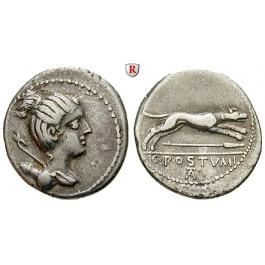 Römische Republik, C. Postumius, Denar 74 v.Chr., ss+