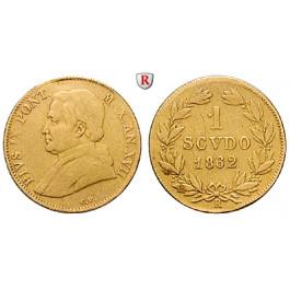 Vatikan, Pius IX., Scudo 1862, 1,56 g fein, f.ss