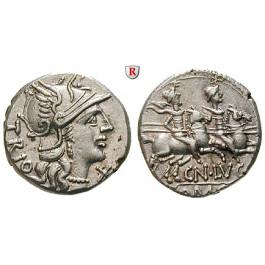 Römische Republik, Cn. Lucretius Trio, Denar 136 v.Chr., ss-vz