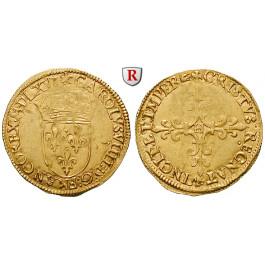 Frankreich, Charles IX., Ecu d´or au soleil 1566, f.vz