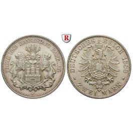 Deutsches Kaiserreich, Hamburg, 2 Mark 1888, J, vz-st, J. 61