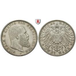 Deutsches Kaiserreich, Württemberg, Wilhelm II., 2 Mark 1902, F, ss+, J. 174