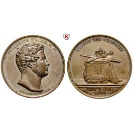 Brandenburg-Preussen, Königreich Preussen, Friedrich Wilhelm IV., Versilberte Bronzemedaille 1840, vz