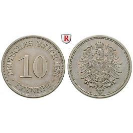 Deutsches Kaiserreich, 10 Pfennig 1874, A, vz, J. 4