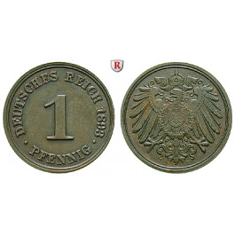 Deutsches Kaiserreich, 1 Pfennig 1893, D, vz, J. 10