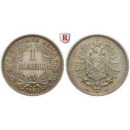 Deutsches Kaiserreich, 1 Mark 1881, E, vz/vz-st, J. 9