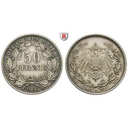 Deutsches Kaiserreich, 50 Pfennig 1903, A, vz, J. 15
