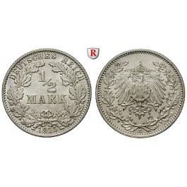Deutsches Kaiserreich, 1/2 Mark 1915, E, vz, J. 16