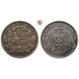 Deutsches Kaiserreich, 1/2 Mark 1919, A, vz, J. 16