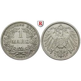 Deutsches Kaiserreich, 1 Mark 1909, J, ss-vz, J. 17