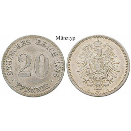 Deutsches Kaiserreich, 20 Pfennig 1874, E, ss-vz/vz, J. 5