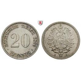 Deutsches Kaiserreich, 20 Pfennig 1876, C, vz, J. 5