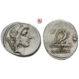 Römische Republik, Q. Cassius Longinus, Denar 55 v.Chr., ss