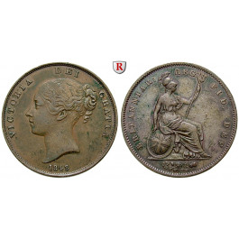 Grossbritannien, Victoria, Penny 1848, f.vz