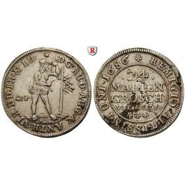 Braunschweig, Braunschweig-Wolfenbüttel, Rudolf August und Anton Ulrich, 24 Mariengroschen 1686, ss