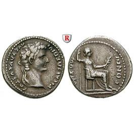 Römische Kaiserzeit, Tiberius, Denar 14-37, f.vz
