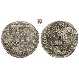 Brandenburg-Preussen, Kurfürstentum Brandenburg, Friedrich Wilhelm, Schilling 1660, ss+