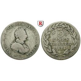 Hessen, Hessen-Kassel, Wilhelm II., 1/3 Taler 1824, f.ss