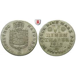 Westfalen, Königreich, Hieronymus Napoleon, 1/6 Taler 1813, ss