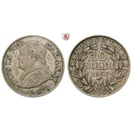 Vatikan, Pius IX., 10 Soldi 1866 (Jahr XXI), ss+