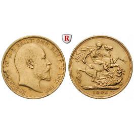 Australien, Edward VII., Sovereign 1903, 7,32 g fein, ss-vz
