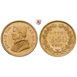 Vatikan, Pius IX., 2 1/2 Scudi 1860, 3,89 g fein, vz+