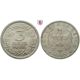 Weimarer Republik, 3 Reichsmark 1932, Kursmünze, D, vz-st, J. 349