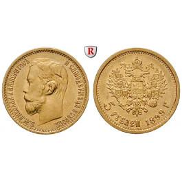 Russland, Nikolaus II., 5 Rubel 1899, 3,87 g fein, f.vz