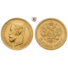 Russland, Nikolaus II., 5 Rubel 1902, 3,87 g fein, vz