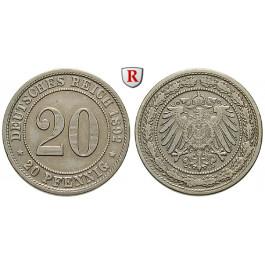 Deutsches Kaiserreich, 20 Pfennig 1892, D, ss-vz, J. 14
