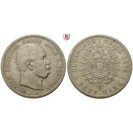 Deutsches Kaiserreich, Preussen, Wilhelm I., 5 Mark 1876, B, ss, J. 97