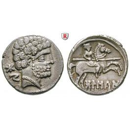 Spanien, Osca, Denar 150-100 v.Chr., vz/ss-vz