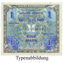 Banknoten unter Alliierter Besetzung(1944-48), 1 Mark 1944, I-, Rb. 201d