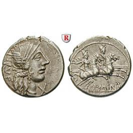 Römische Republik, Q. Minucius Rufus, Denar 122 v.Chr., ss-vz